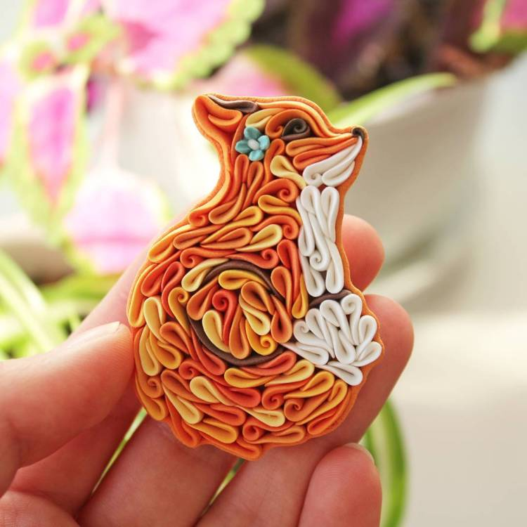 Colorfully Detailed Animal Themed Jewelry Crafted Out of Curled Strips of Polymer Clay