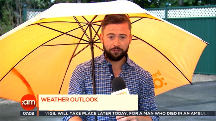 Irish Weatherman and His Umbrella Almost Blown Away by a Strong Gust of Wind on Live TV
