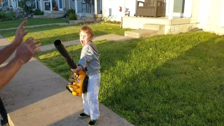 Kid Turns Into a Supervillain After Trying His Grandpa's Leaf Blower