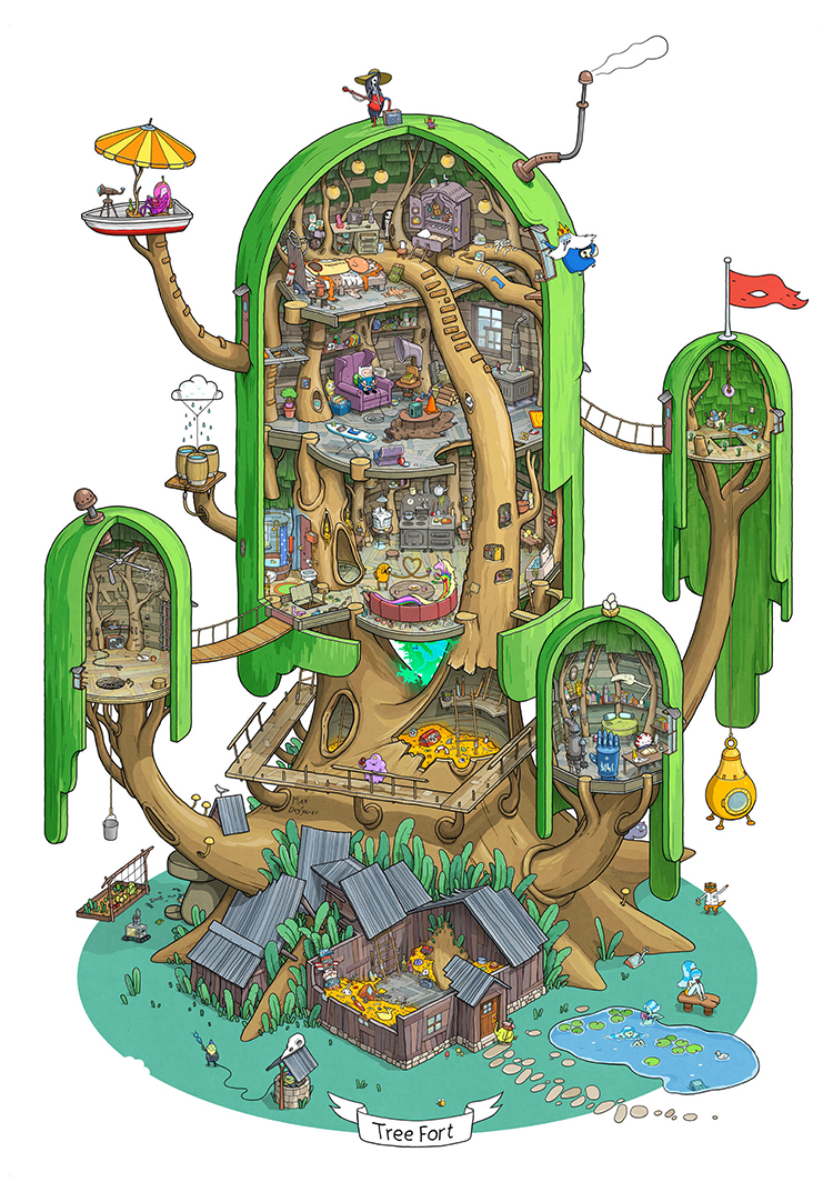 Adventure Time Illustration Featuring a Detailed Look at Finn and Jake's Tree Fort