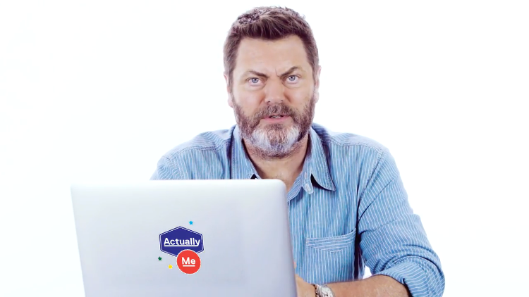 Nick Offerman Goes Undercover on the Internet and Responds to People's Real Comments