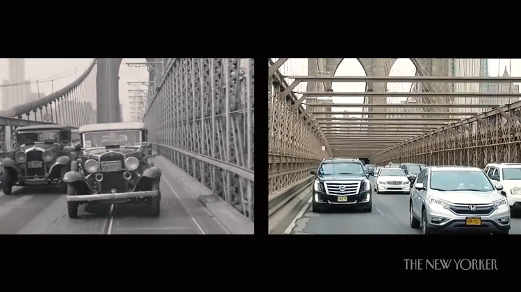 A Side By Side Tour of the Same Streets in New York City Using Footage From the 1930s and Today