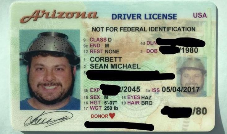 Dedicated Pastafarian Photographed With Colander on His Head for His Arizona Driver License
