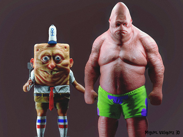 3D Artist Creates Real Life Versions of SpongeBob SquarePants and Patrick