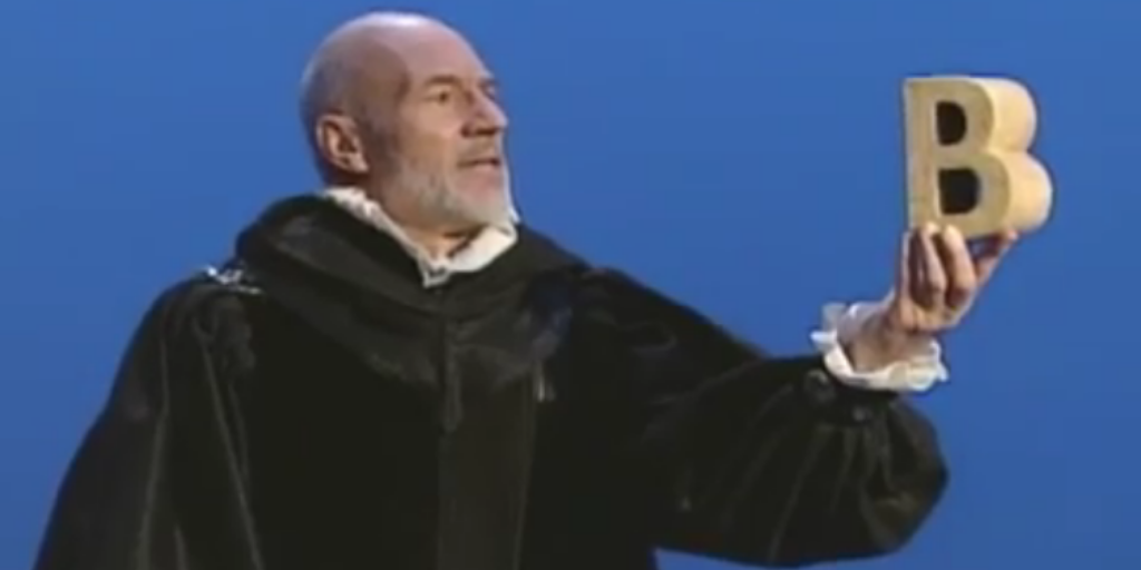Sir Patrick Stewart Gives a Shakespearean Soliloquy on the Letter 'B' on a 2001 Episode of Sesame Street