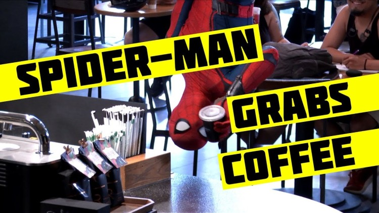 Spider-Man Drops In and Surprises Unsuspecting Customers at a New York City Starbucks
