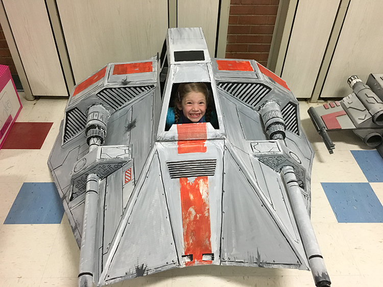 Father Builds Cardboard Star Wars Snowspeeder for His Daughter's Drive-In Movie at School