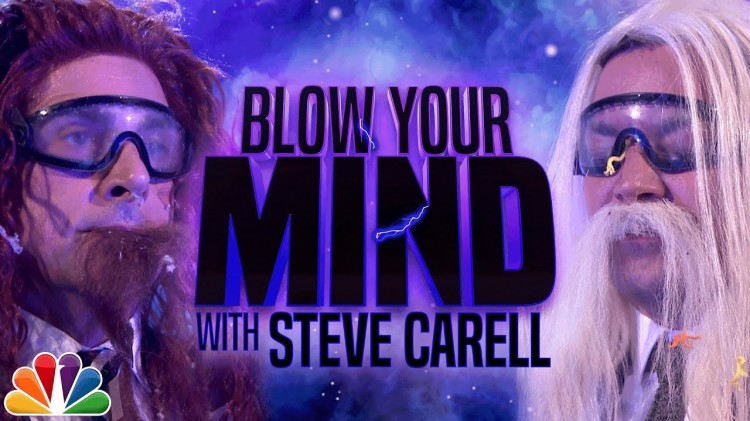 Steve Carell and Jimmy Fallon Play an in Your Face Game of 'Blow Your Mind' on the Tonight Show