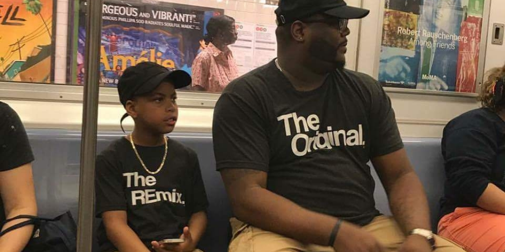 The Original and The Remix, An Awesome Pair of T-Shirts Worn by a Father and Son on the Subway