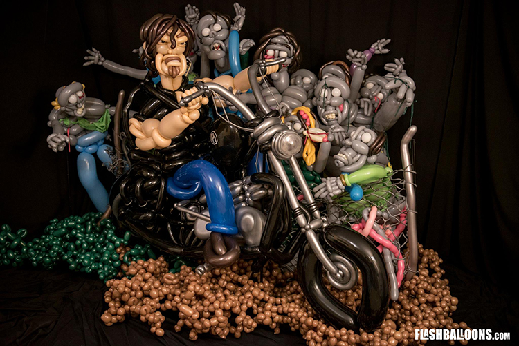 Daryl Dixon of The Walking Dead Recreated With Balloons