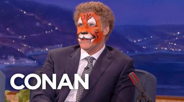 Will Ferrell Shows Up on Conan Wearing Ridiculous Tiger Face Paint From a Kid's Birthday Party