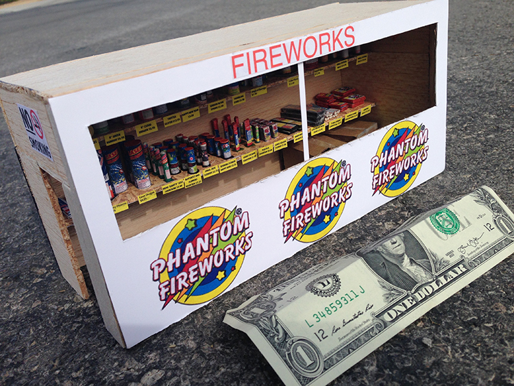 A Miniature Fireworks Stand With Tiny Working Fireworks