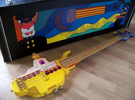 A Magnificently Detailed Custom Bass Guitar Made In the Shape of the Beatles' Yellow Submarine