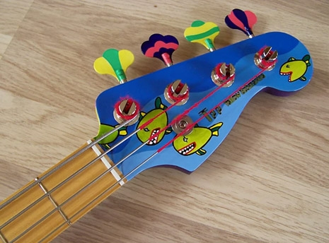Yellow Submarine Bass Pickups Headstock