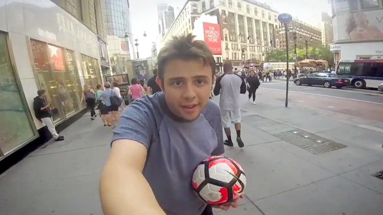 A Man Walks Around New York City for 10 Hours Kicking a Soccer Ball and Interacting With Strangers