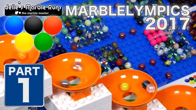16 Teams of Marbles Compete on a Hubelino Marble Run With 9 Funnels at the 2017 MarbleLympics