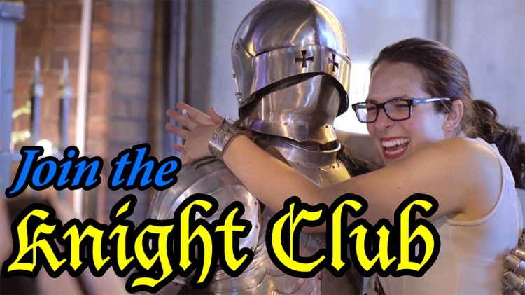 A Man Dressed as a Medieval Knight Tries to Get Into Nightclubs on a Saturday Night