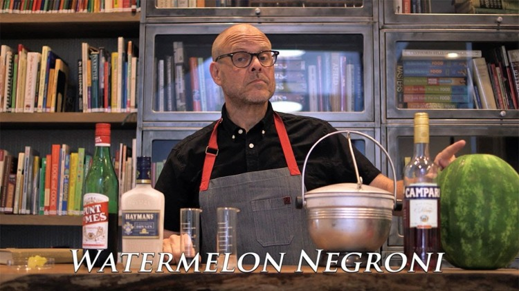 Alton Brown Hilariously Demonstrates How to Make a Single Serving of a Watermelon Negroni Cocktail
