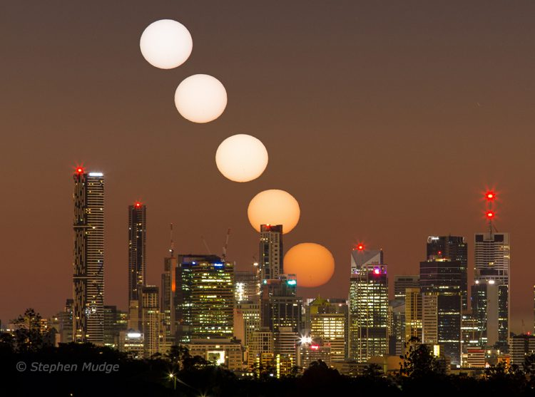 A Gorgeous Photo That Captures the Sun Rising in Various Stages Over the City of Brisbane, Australia
