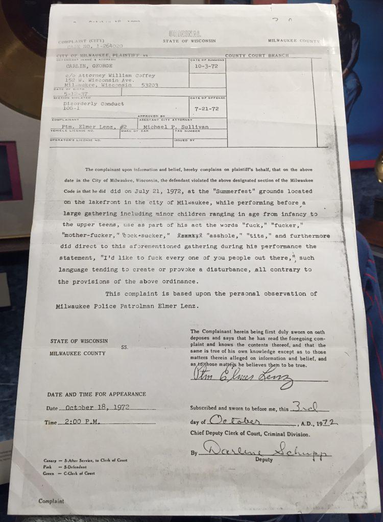 George Carlin Arrest Record