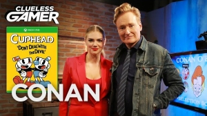 Conan O'Brien Plays 'Cuphead' With Kate Upton on Clueless Gamer
