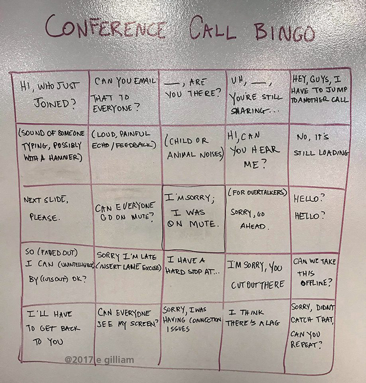 A Clever Bingo Card for People Who Spend a Lot of Time Sitting In on Conference Calls at Work