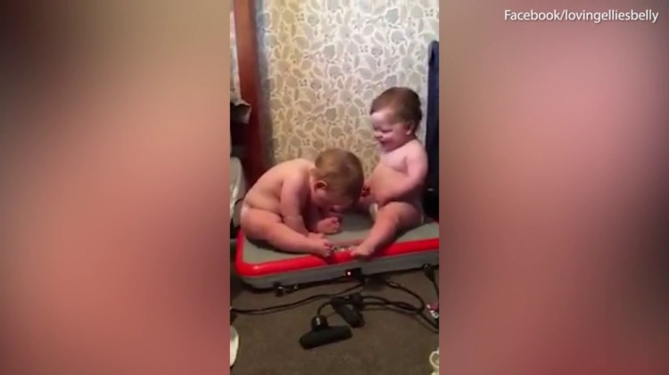 Cute Twin Babies Laugh Hysterically While Sitting on a Vibrating Powerfit Machine