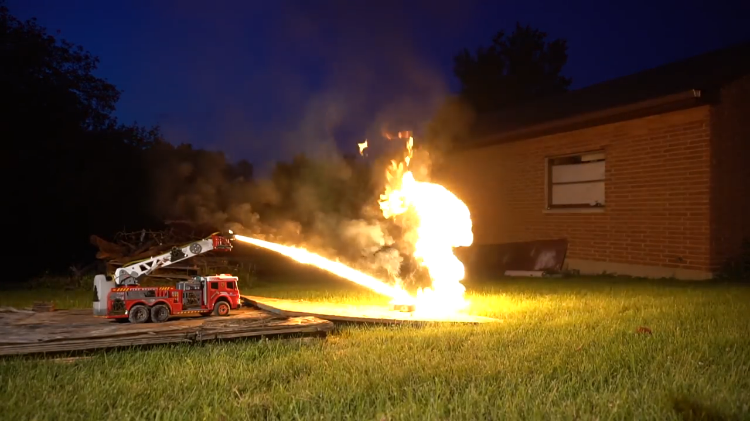 A Remote-Controlled Flamethrower Firetruck Wreaks Havoc on Fireworks