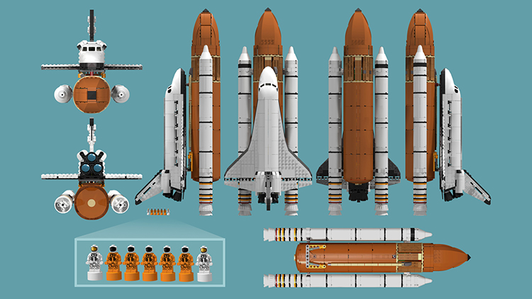 A 1:110 Scale LEGO Model of a NASA Space Shuttle