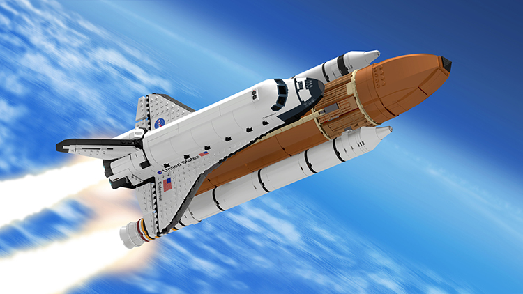 A 1:110 Scale LEGO Model of a NASA Space Shuttle