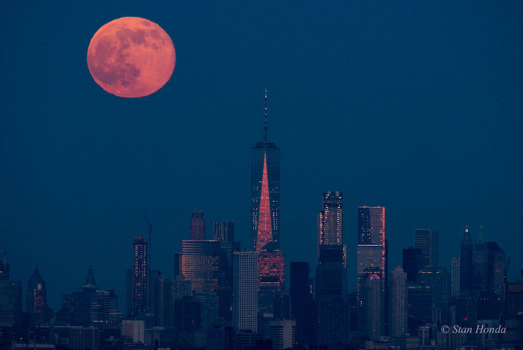Manhattan Moonrise, A Stunning Shot of the Strawberry Moon Rising Over Lower Manhattan