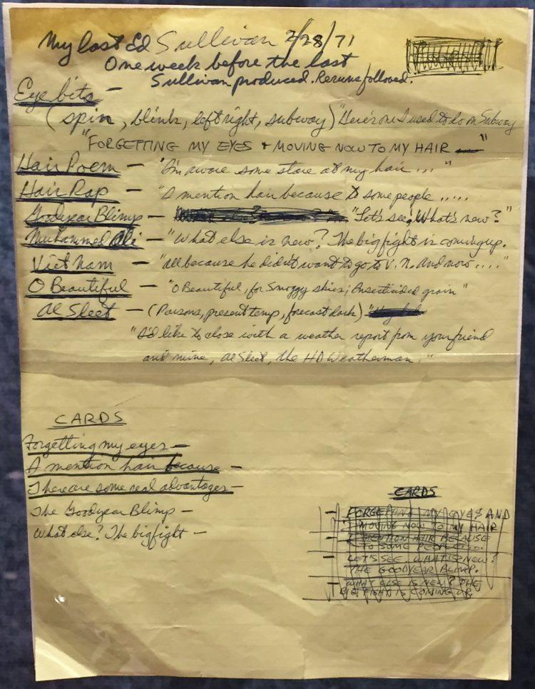 Set List Ed Sullivan 1971