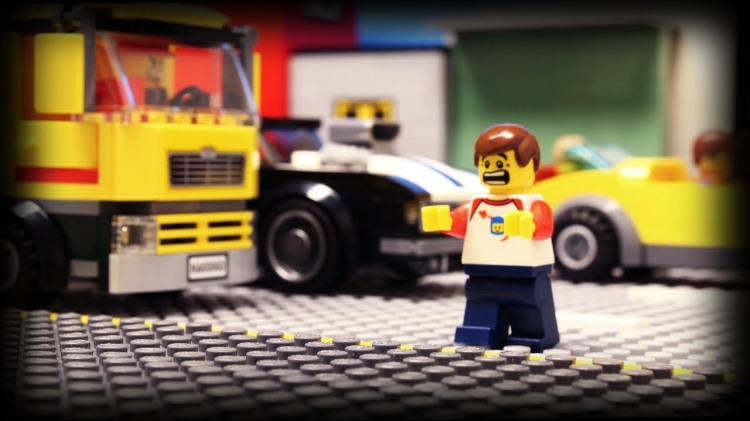Stop-Motion Animated Short About a LEGO Minifig Crossing a Dangerously Busy Street for a Soda