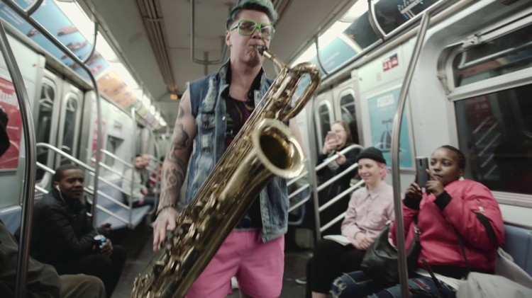 Powerful Horn-Based Trio Too Many Zoos Entertain Commuters on a Manhattan Bound L Subway Train