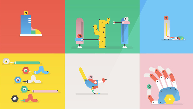 A Cute Animation About 'Silly Robots' Made Using 50 Different Animated GIF Images