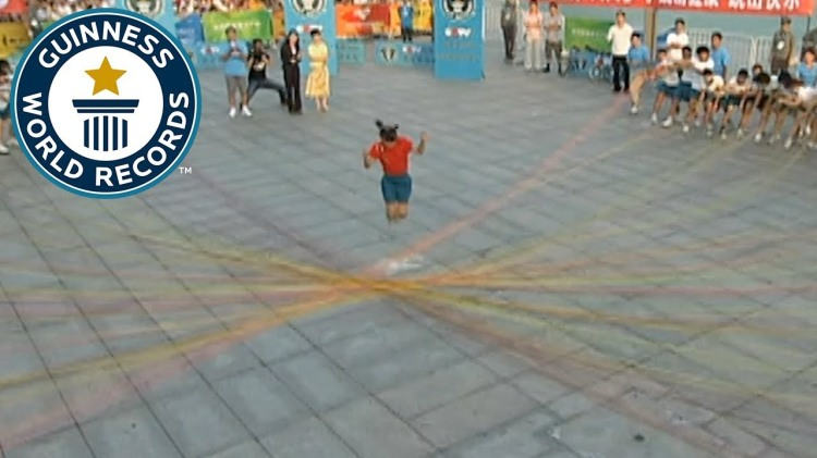 Young Chinese School Girl Set Guinness World Record for Jumping Over 110 Individual Skipping Ropes