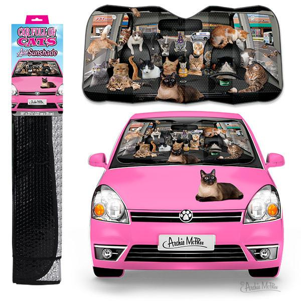 Car Full of Cats Vehicle Windshield Sunshade