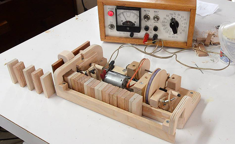 Expert Woodworker Demonstrates How to Make a Wooden Domino Row Building Machine