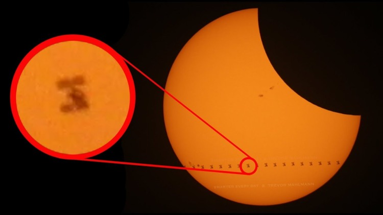 The International Space Station Passing in Front of the Sun During the 2017 Total Solar Eclipse