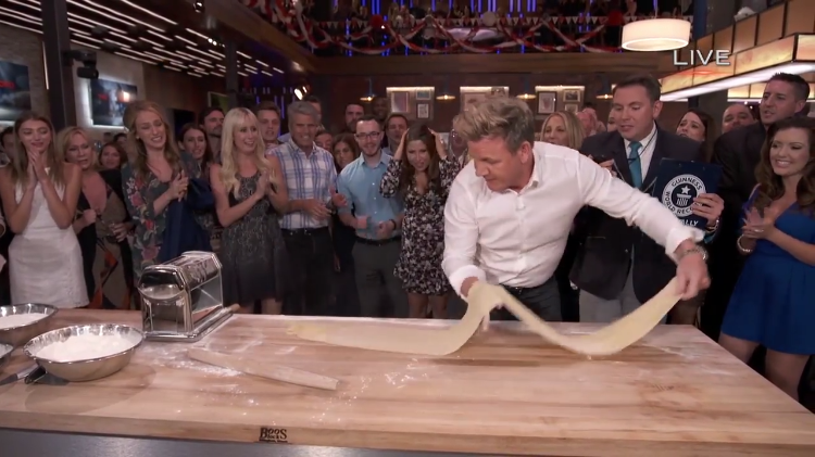 Chef Gordon Ramsay Sets a Guinness World Record for the Longest Pasta Sheet Rolled In 60 Seconds