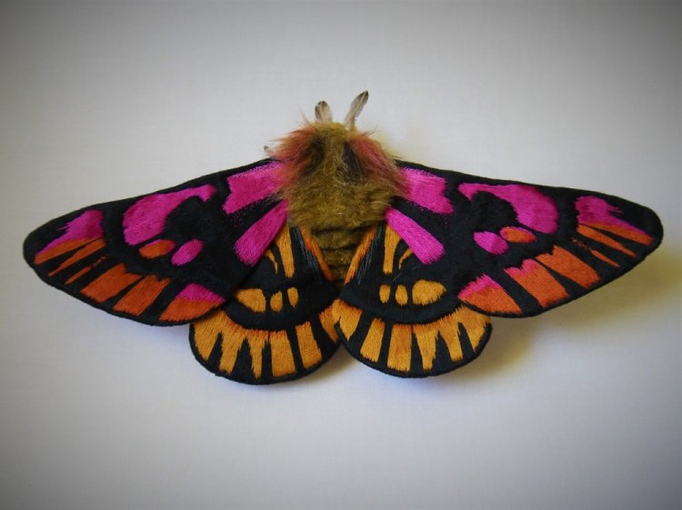 Gorgeously Detailed Butterfly and Moth Sculptures Made Out of Hand Painted Embroidered Textiles