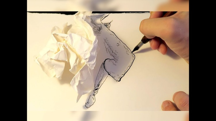 London Artist Draws Faces from the Shadow of a Crumpled Up Piece of Paper