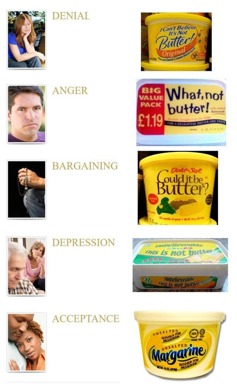 The Five Stages of Margarine Grief