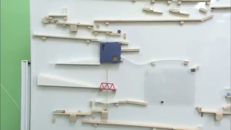 A Truly Impressive Handmade Rube Goldberg Machine That Utilizes Both Sides of a Whiteboard