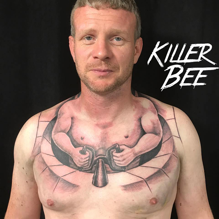 Trucker Gets Hilarious Chest Tattoo That Makes It Look Like He's Driving a Tiny Vehicle