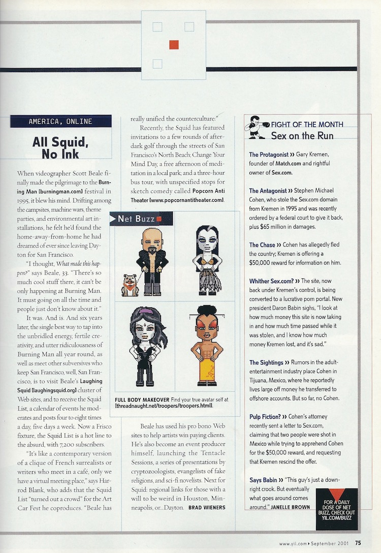 2001 Profile of Laughing Squid in Yahoo Internet Life