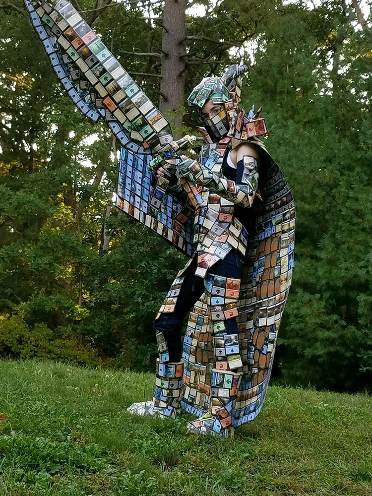 An Incredible Suit of Armor, Sword and Shield Made Out of Magic: The Gathering Cards