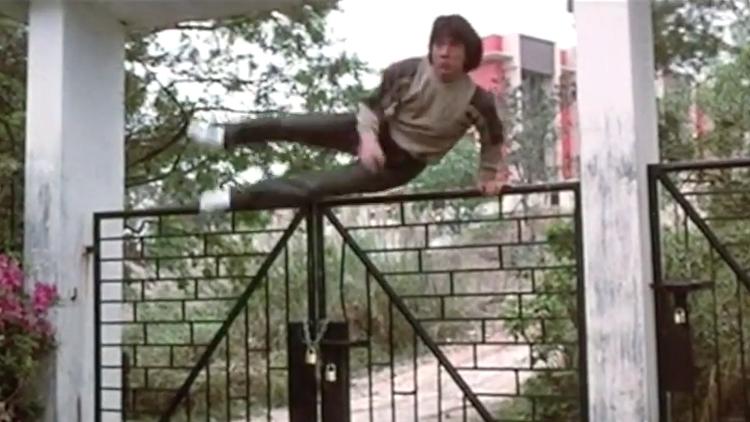 Jackie Chan Skillfully Jumping Over Fences