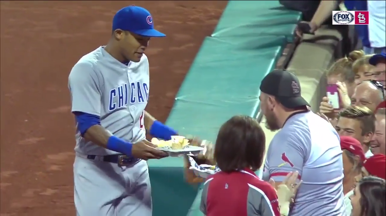 Cubs Shortstop Delivers Replacement Nachos to the Cardinals Fan Whose Nachos He Knocked Over