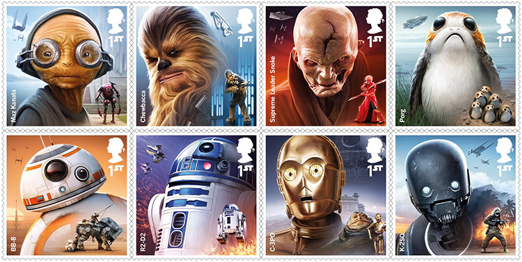 United Kingdom Royal Mail Collectible 'Star Wars' Stamps Featuring New & Classic Droids & Aliens